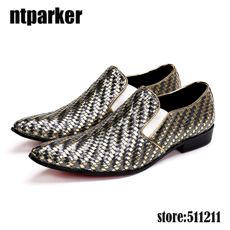 ntparker-Luxury Fashion Men Dress Shoes Patterned Leather Shoes Men Slip-on Pointed Toe Business and Party Shoes, Big Size US12