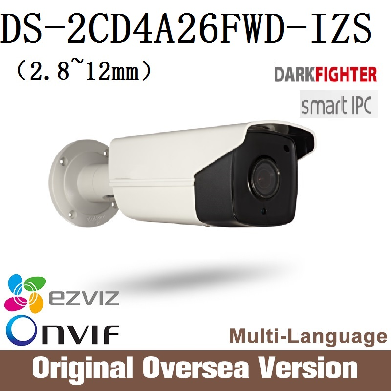 HIKVISION LPR Camera DS-2CD4A26FWD-IZS Cctv Bullet 1080p Poe Ip67 smart IR English Version H265 da hua WDR Onvif RJ45 hikvision ds 2cd4a25fwd iz 2mp smart ip camera cctv bullet 1080p poe ip67 ir english version h265 wdr onvif rj45 lightfighter