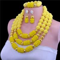 Luxury 3 Layers Solid Yellow Nigerian Wedding African Beads Jewelry Set Dubai Gold Full Beads Bridal Jewlery Free Shipping