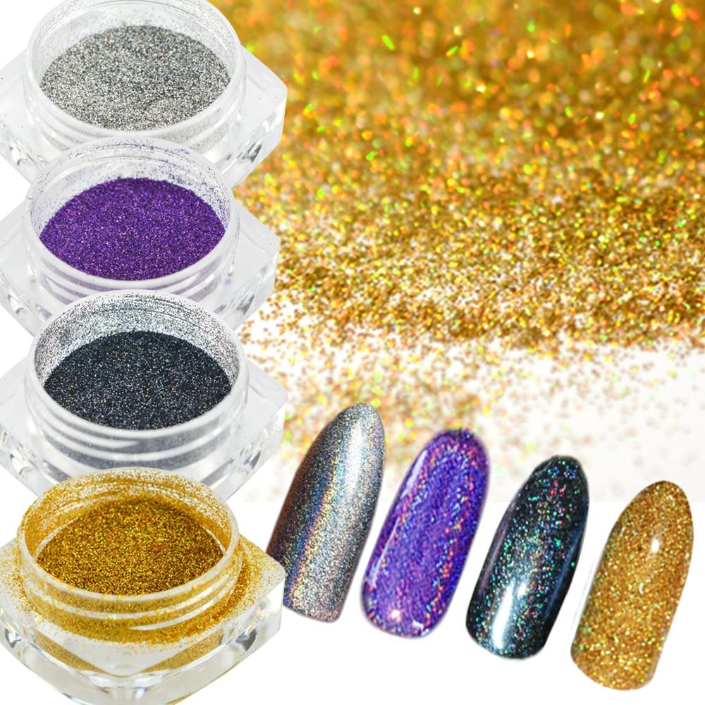 Extra Fine Holographic Chrome Nail Art Powder: 1pc Ultra Thin Holographic Laser Nail Glitter Powder Dust
