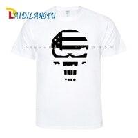 Nouveau Crâne Punisher Usa Drapeau Arrivées Hommes t-shirt À Manches Courtes T Shirt Casual Tops Cool Tee Shirts