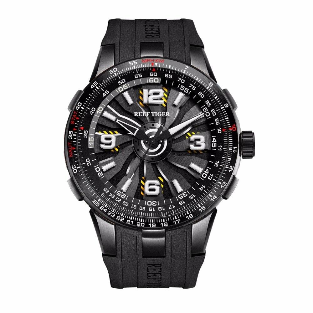 Neue Riff Tiger/RT Männer der Sport Automatische Uhren Schwarz Stahl Motor Whirling Zifferblatt Militär Uhren RGA3059