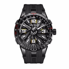 New Reef Tiger / RT Herren Sport Automatikuhren Black Steel Engine Whirling Dial Militäruhren RGA3059