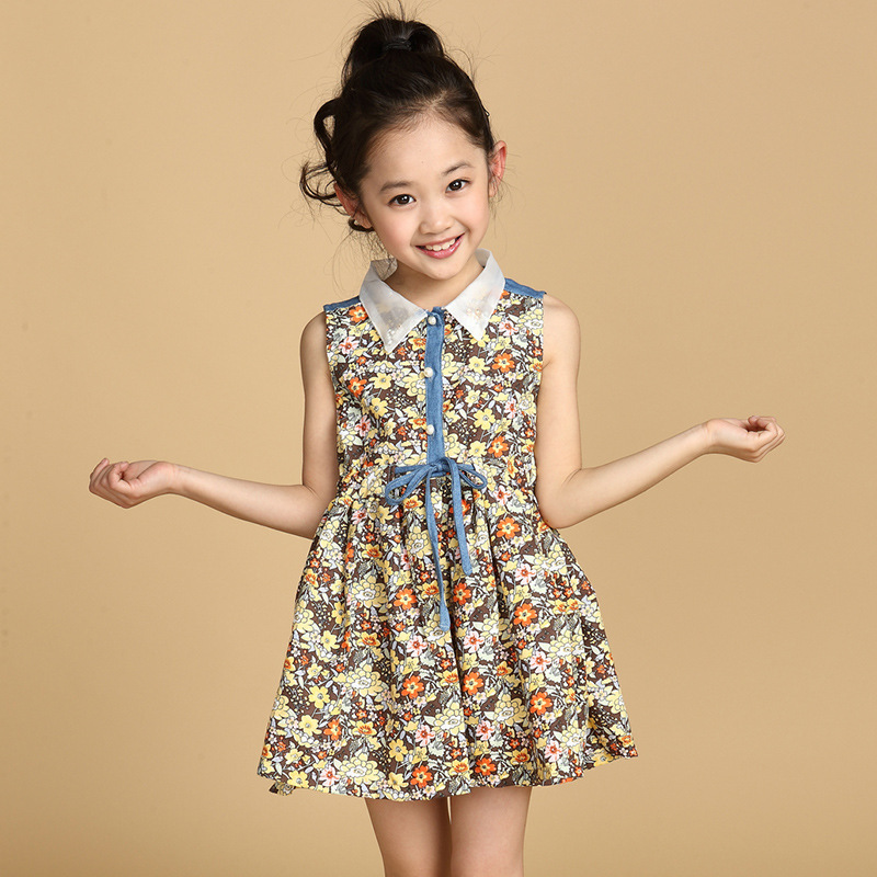 16e663906 Retail Girls' Floral Print Dress Summer Kids Girl Cotton Dress Teenage Girls  One piece Stylish Dress Age 4 14-in Dresses from Mother & Kids on ...