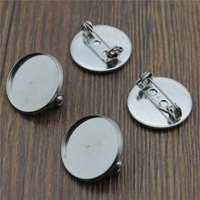 Wysiwyg 10 pces cabem 18mm 20mm 25mm de vidro redondo cabochão material de aço inoxidável broche base joias descobertas para fazer jóias