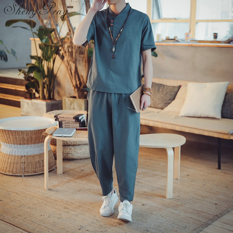 Chinese Traditional Elegant Linen Men Suit