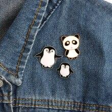 Broche de panda esmalte, broche de metal fofo com botões e pinos, jaqueta jeans de desenho, animais, joias de presente para amigos e criança