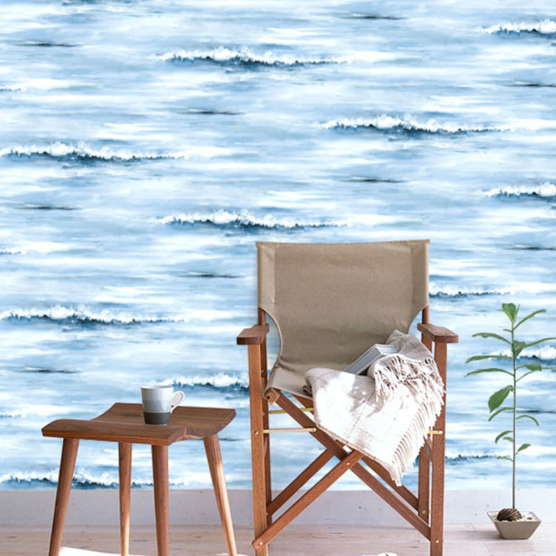 Decorative Wallpaper Home Decoration Blue Ocean Vast Sea Water Spray Wall Paper Designs for Children Boys Bedroom papier peint commercial sea inflatable blue water slide with pool and arch for kids