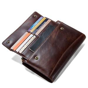 Image 4 - CONTACTS cartera de mano de piel auténtica anti RFID para hombre, billetera larga informal de alta capacidad, portatarjetas, carteras masculinas