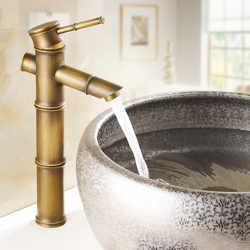 Bamboo vintage bath basin faucet bathroom basin mixer tap with hot and cold water single handle