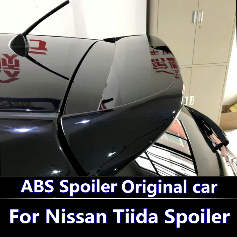 For Nissan Tiida Spoiler 2006 2010 year spoilers High Quality ABS Material Car Rear window Wing Primer Color Rear Spoiler
