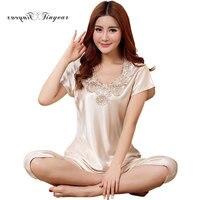2016 Wholesale Pyjama Women Short Sleeve Embroidery Floral V Neck Sleep Lounge Wear Beautiful Ladies Pajamas