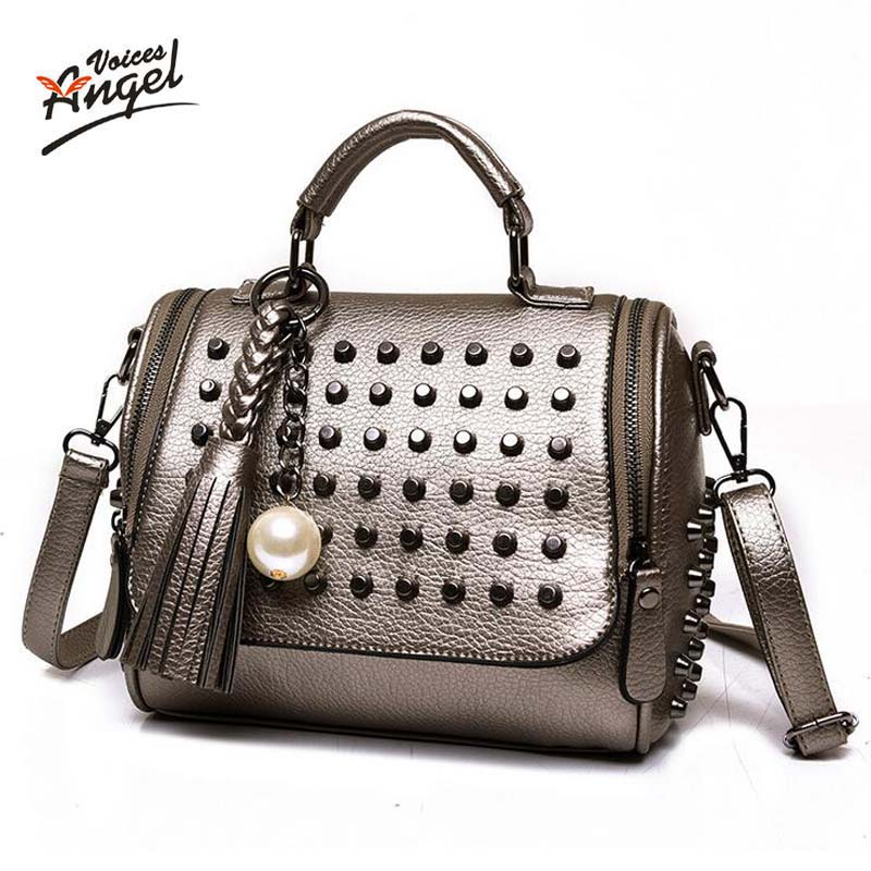 Luxury Handbags Women Bags Designer Handbags High Quality PU Leather Bag Famous Brand Retro Shoulder Bag Rivet Sac a main luxury handbags women bags designer brand famous scrub ladies shoulder bag velvet bag female 2017 sac a main tote