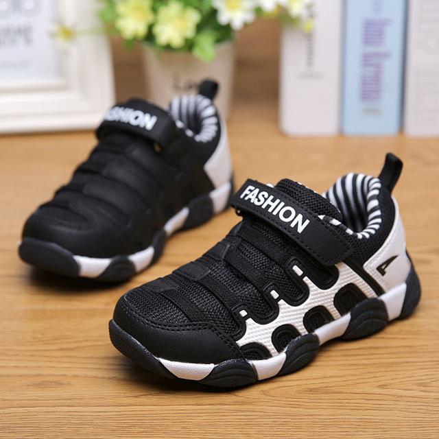 Nueva marca de 2017 niños shoes moda niños sneakers tamaño 27-37 niños y niñas sport shoes niño ocasional respirable zapatillas de deporte