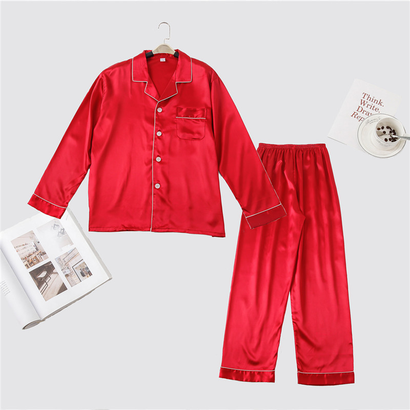 Red Men Long Sleeve Pajama Set Spring NEW Long Sleeve Sleepwear Rayon Casual 2 Pieces Nightwear Solid Male Pyjamas Pijama Suit