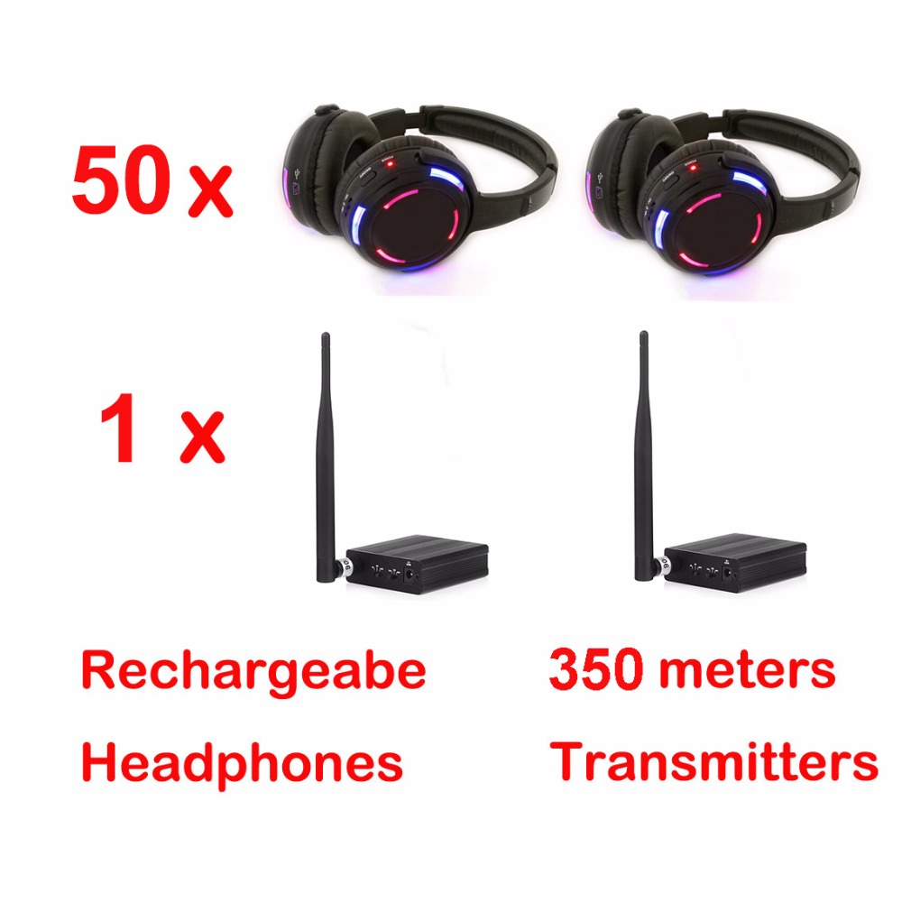 500m distance Professional Silent Disco 50 LED Headphones with 1 transmitter- RF Wireless For DJ club party meeting broadcast niorfnio portable 0 6w fm transmitter mp3 broadcast radio transmitter for car meeting tour guide y4409b