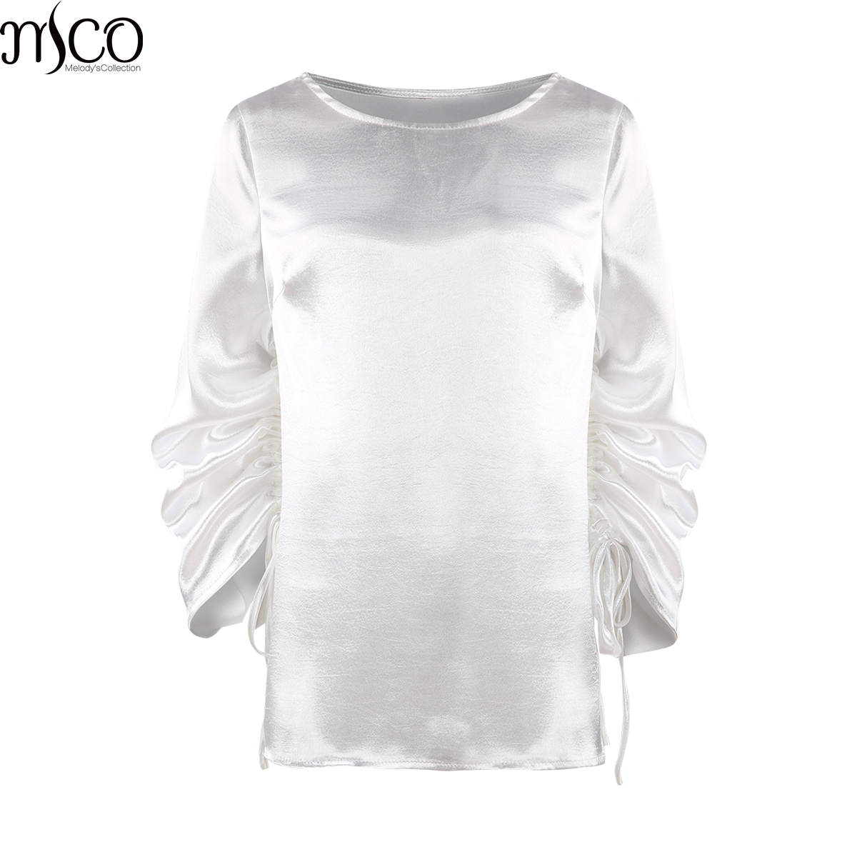MCO 2018 Spring Lace Up Long Sleeves Plus Size Satin Women's Top Simple Office Ladies White Blouse Basic Big Women Tops 5xl 6xl