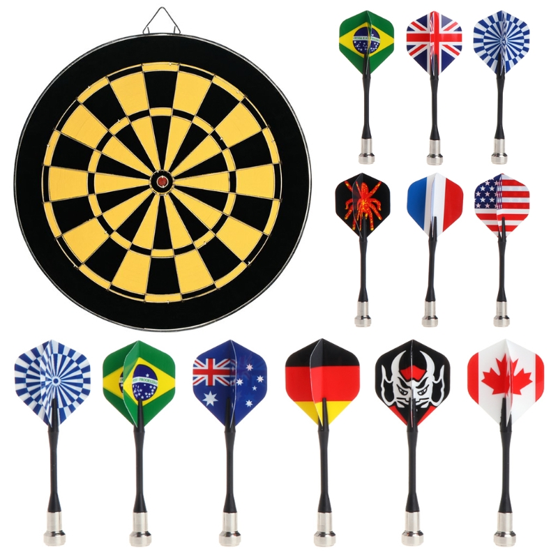 6pcs Bullseye Target Game Child Safety National Flag Magnetic Dart Super Suction
