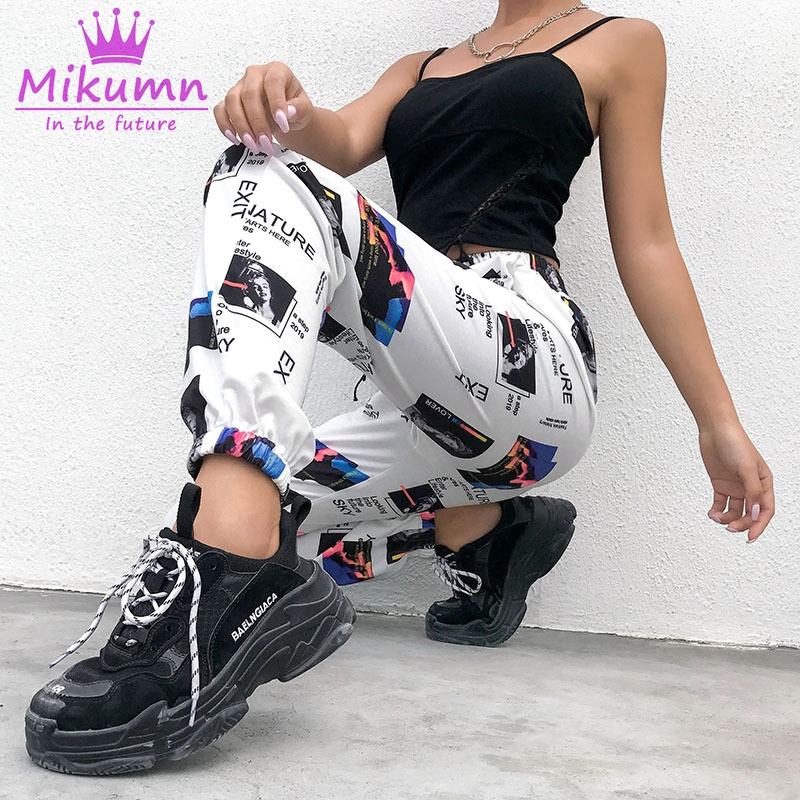 Harajuku Women Harem Pants Elastic High Waist Ankle Length Trousers Spring Autumn Hip Hop Causal Loose Punk Femme Pants Capris