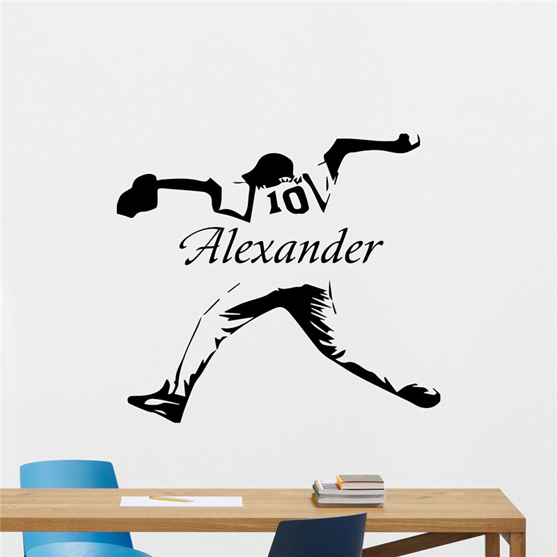 Custom Name Baseball Wall Decal Baseball Bat Ball Logo Vinyl Sticker Sport  Wall Decor Wall Art Kids Boy Room Wall Sticker X368 In Wall Stickers From  Home ...
