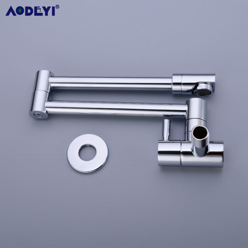 Image 5 - Brass Wall Mounted Kitchen Faucet Pot Filler Faucet Swivel Folding Retractable Rotary Stretch  Basin Faucet Sink Tap-in Kitchen Faucets from Home Improvement