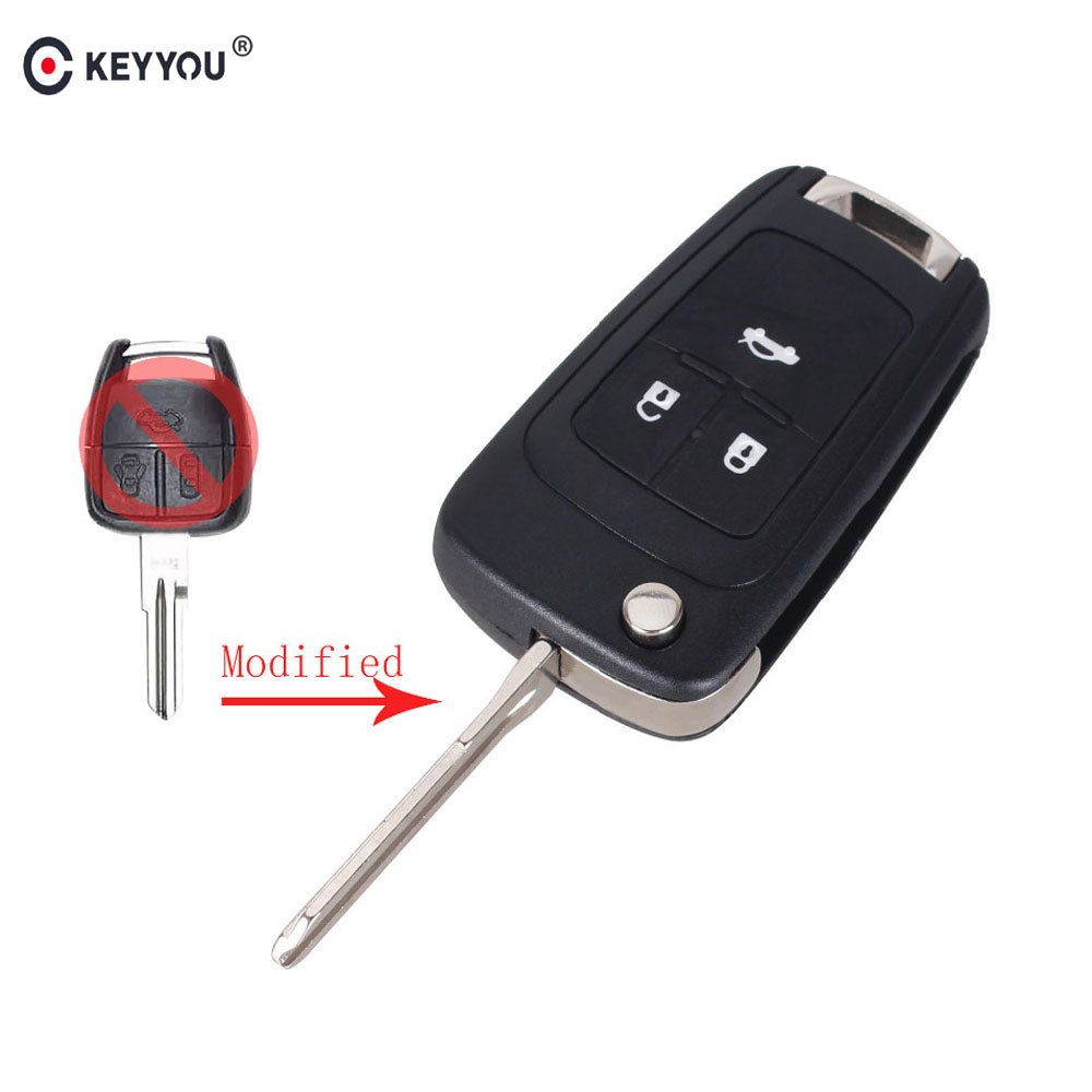 KEYYOU 3 Buttons Flip Folding Key Shell for Chevrolet Cruze Aveo Remote Key Case Uncut Blank Free Shipping free shipping flip key head case with hu43 blade for chevrolet 10pcs lot