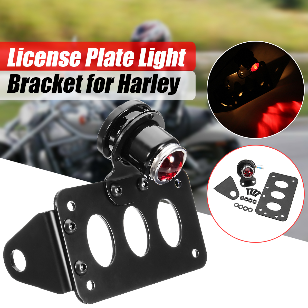 Universal Motorcycles License Plate Bracket Twin Light Integrated Taillights Side Mount Vertical Mount for Harley Sportster side axle mount vertical motorcycle license plate holder bracket tail light for harley yamaha honda bobber chopper custom