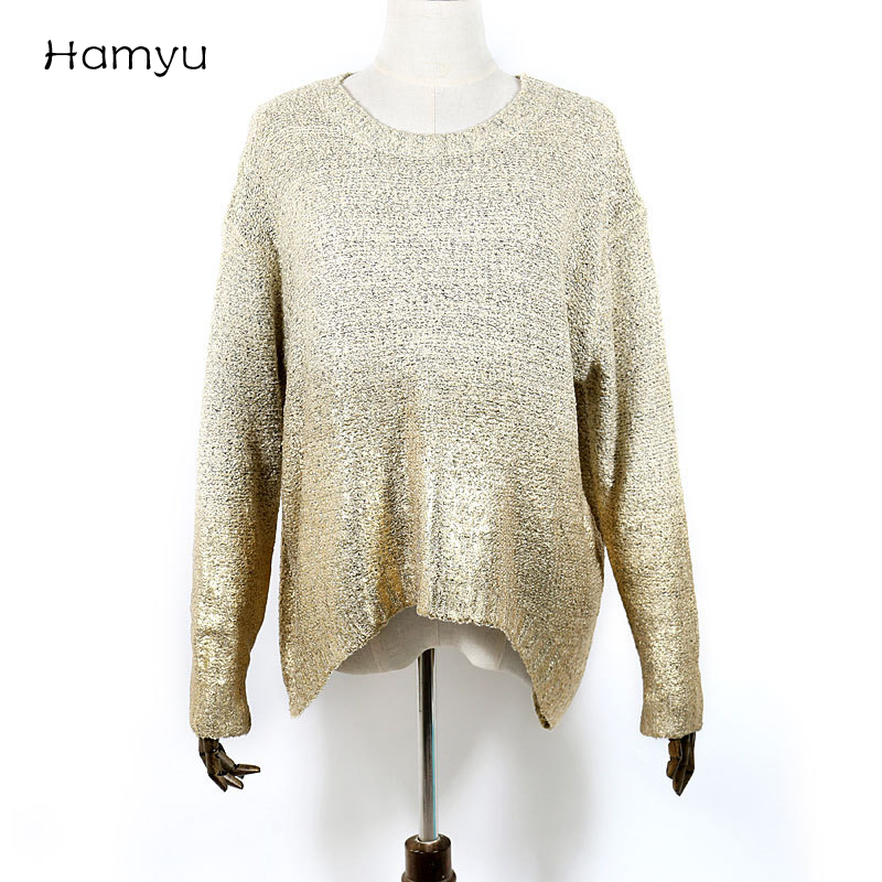 92d1ee39ac Gold Hot Stamping Loose Long Sleeve Knitted Sweaters For Women Graduated  Colors Women Sweater Knitted Sweaters Warm Pullover-in Pullovers from  Women s ...
