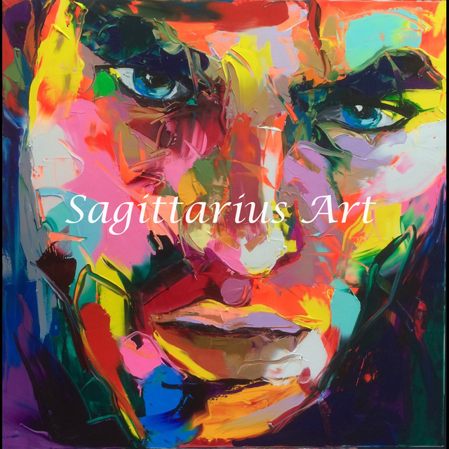 Francoise nielly designers hand painted palette knife abstract portraits handmade oil painting canvas living room pop
