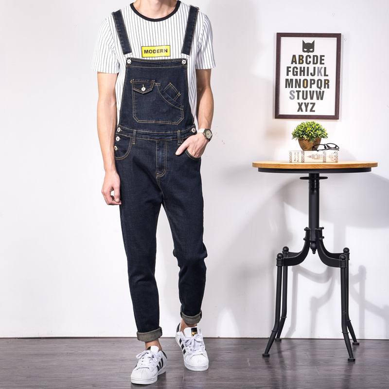 1a860c72326 Fashion Men s Overalls Jeans Slim Homme Skinny Black Denim Jumpsuits Jeans  Rompers Male Bib Overalls Jeans Pants Big Size 5XL