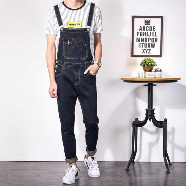 mode f r m nner overalls jeans d nne homme beil ufige d nne schwarz denim overalls strampler. Black Bedroom Furniture Sets. Home Design Ideas
