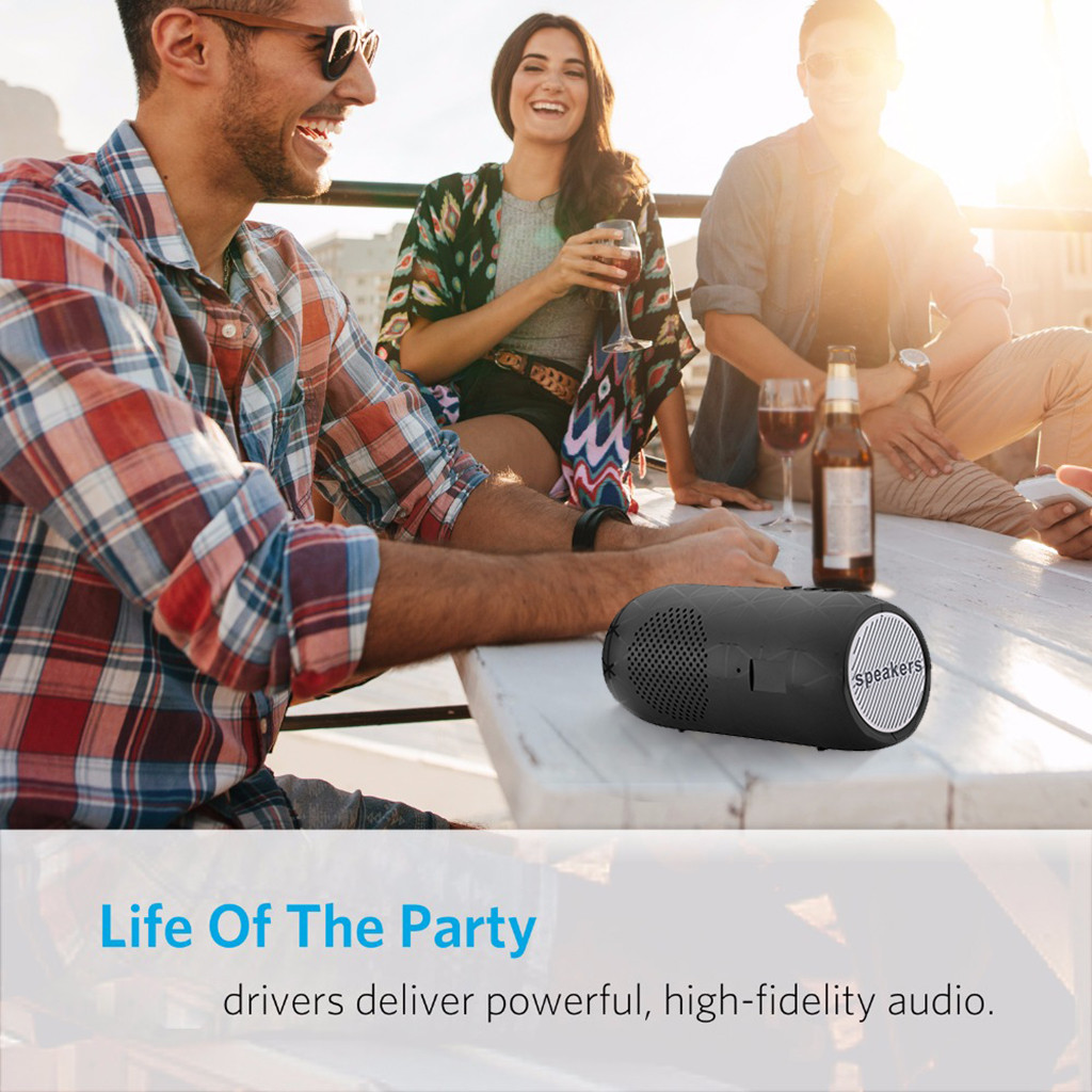 hifi 3d wireless stereo portable bluetooth speaker with subwoofer tf card and fm radio