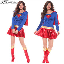 ФОТО new products women cosplay superhero adult sexy fancy dress  magic game halloween superman supergirl costume