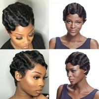 Debut Human Hair Wigs Brazilian Remy Hair Short Wavy Wig For Black Women Short Pixie Cut Wig Human Hair Short Bob Wigs Cheap