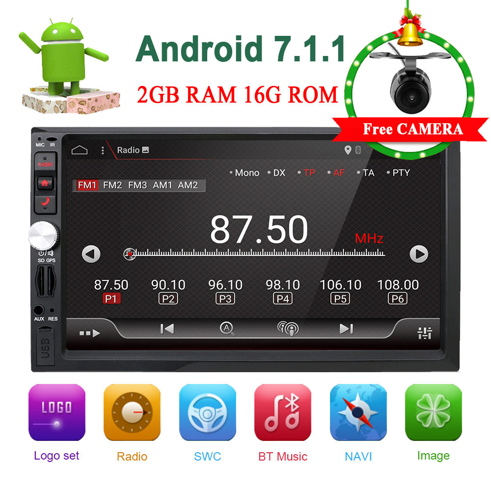 2 Din Autoradio 7 pollice LCD Touch Screen 2din Autoradio Android 7.1 MP3 MP5 Lettore Bluetooth USB AUX Spedizione macchina Fotografica di retrovisione + SD Map Card