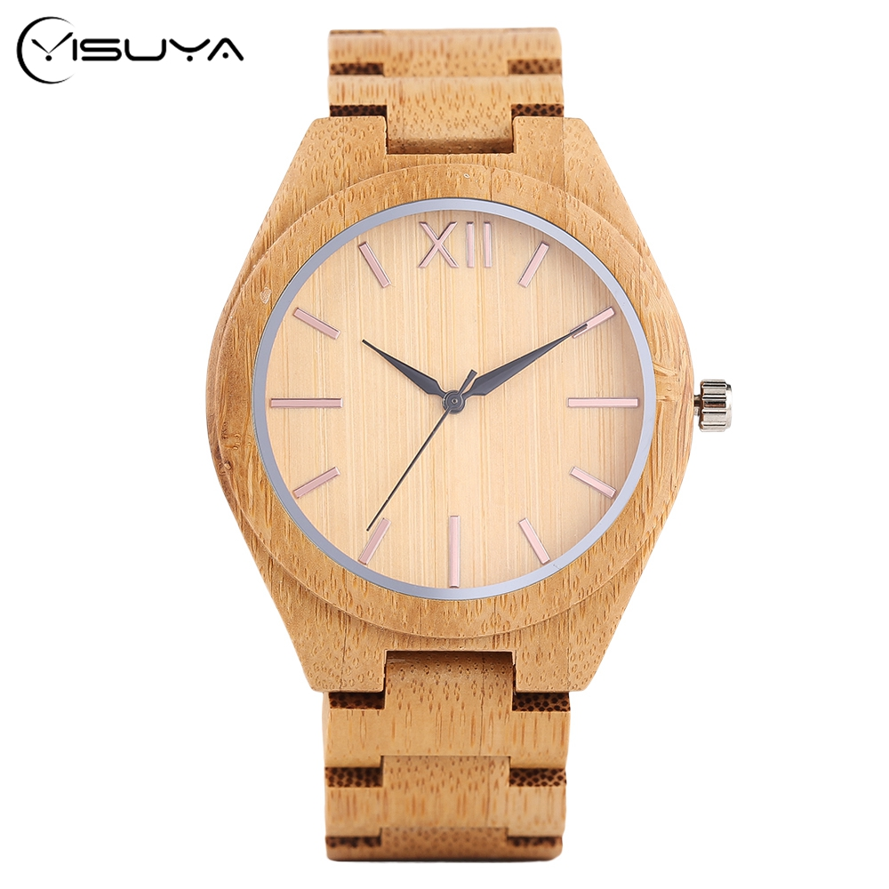 Men's Casual Bamboo Wood Wrist Watch Handmade from Nature Wood Quartz Sport Watches Full Wooden Fold Clasp Bangle Clock fashion casual nature wood wooden watches men sport quartz wristwatch black genuine leather band bamboo handmade gifts