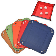PU Leather Quadrilateral Tray for Dice Table Games Key Wallet Coin Box Tray Desktop Storage Box Foldable Storage Box(China)