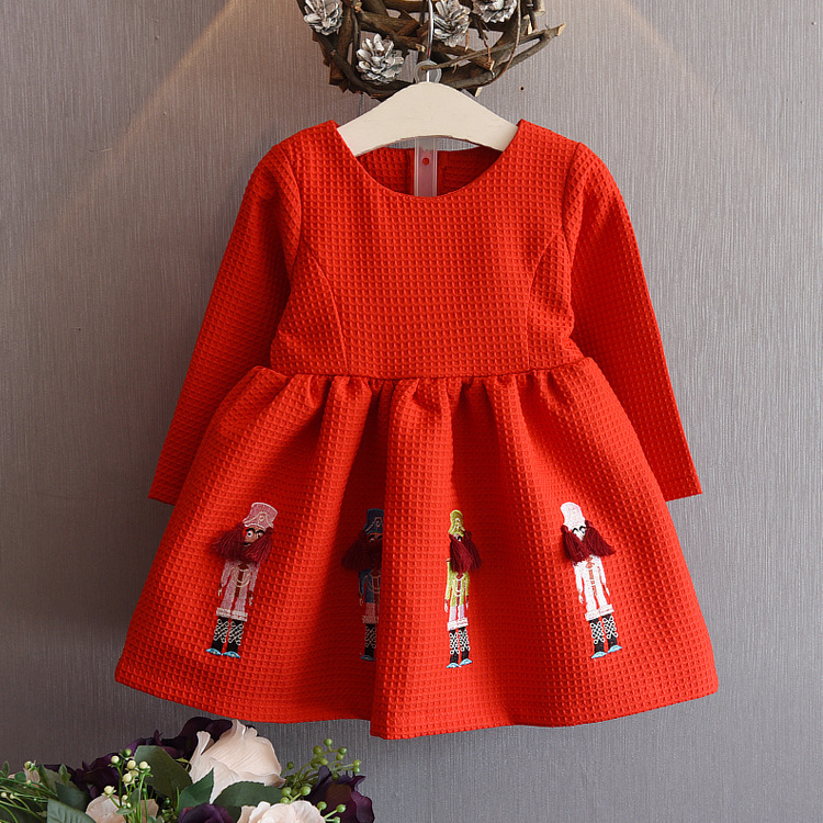 Free shipping 2018 spring autumn Edition Girls Embroidered cartoon dress Red Christmas dress not include necklaces