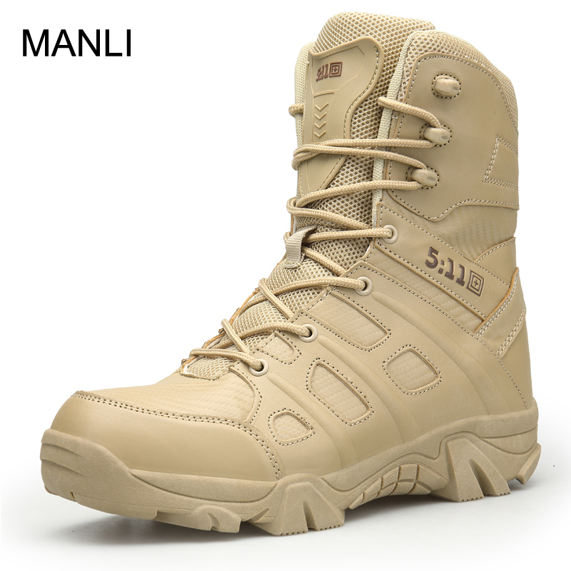 MANLI 2018 Outdoor Hiking Shoes Men's Desert High-top Military Tactical Boots Men Combat Army Boots Militares Sapatos Masculino цена