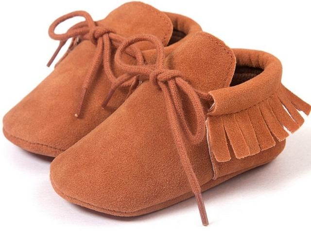 Romirus PU Suede Leather Newborn Baby Boy Girl Moccasins Soft Moccs Shoes Bebe Fringe Soft Soled Non-slip Crib Lace-up baby shoe