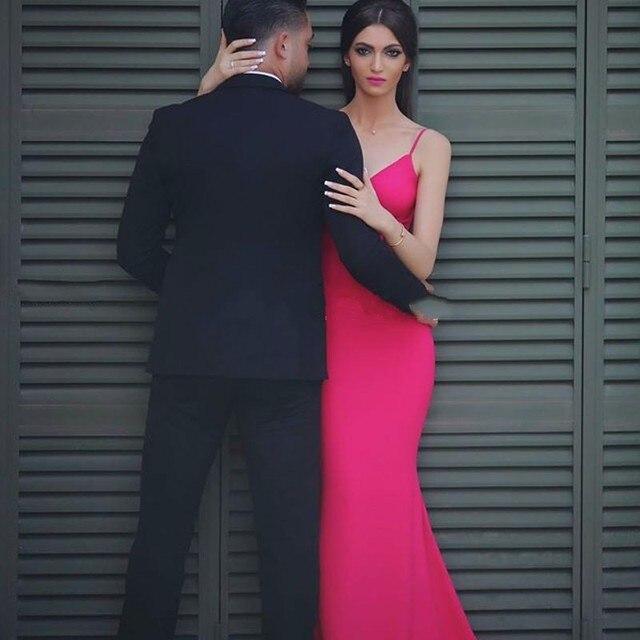 2017 Rose Red Dress Sexy V-Neck Backless Mermaid Dresses Abiti Da Cerimonia  Donna Formal Evening Gowns Robe De Soiree e17afb455a9c