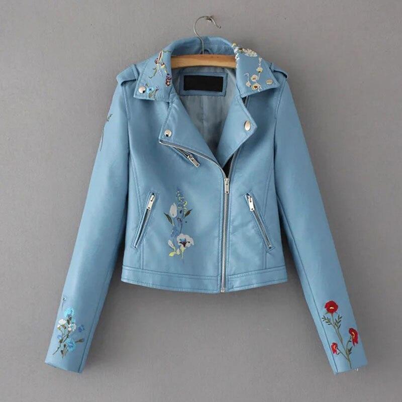 HEEGRAND Embroidery Faux   Leather   Coat Motorcycle Zipper Wine Red PU jackets Women Windbreak Punk Outerwears Winter Jacket WWP207