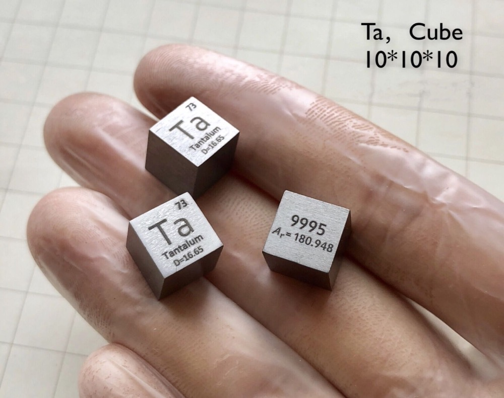 Tantalum Metal 10mm Density Cube 99.95% Pure for Element Collection цена