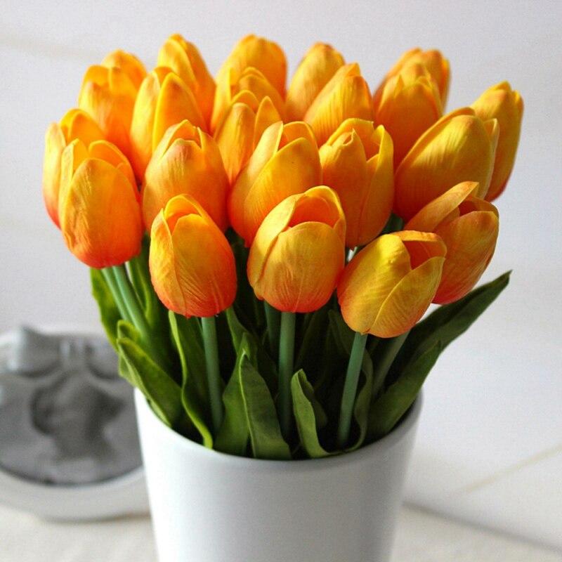 1 Ramo 10 Cabezas de Tulipanes Oficina En Casa Decoración De La Boda de Flores d