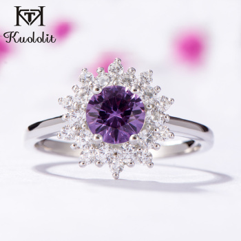 Kuololit  Alexandrite Gemstone Rings for Women Solid 925 Sterling Silver Color Change Stone Ring New Arrival Fine Jewelry
