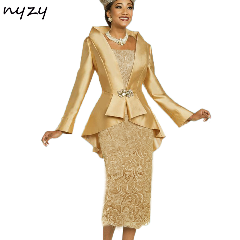 NYZY M23B 2019 Simple Elegant Mother Of The Bride Dresses With Jacket Bolero Groom Mother Outfits Wedding Party Gold Gray Blue