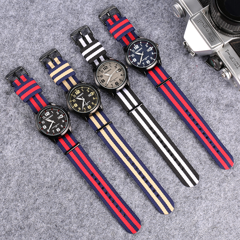 fashion nylon weaved watchband cagarny watches for men drop shipping mens watches black watch male (1)