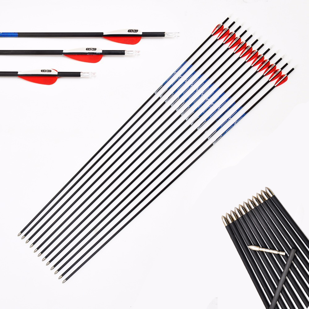 12Pcs Pure Carbon Arrows Sp400 900 1 75 Vanes 80gr Broadhead Archery for Recurve Bow Hunting