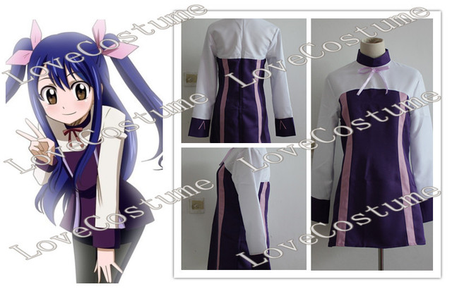 Free Shipping Fairy Tail Wendy Marvell Purple Cosplay Costume Tailor made