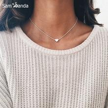 7b9ad55af43d Collar de corazón pequeño de oro Collar de plata para las mujeres inicial  de moda Cadena